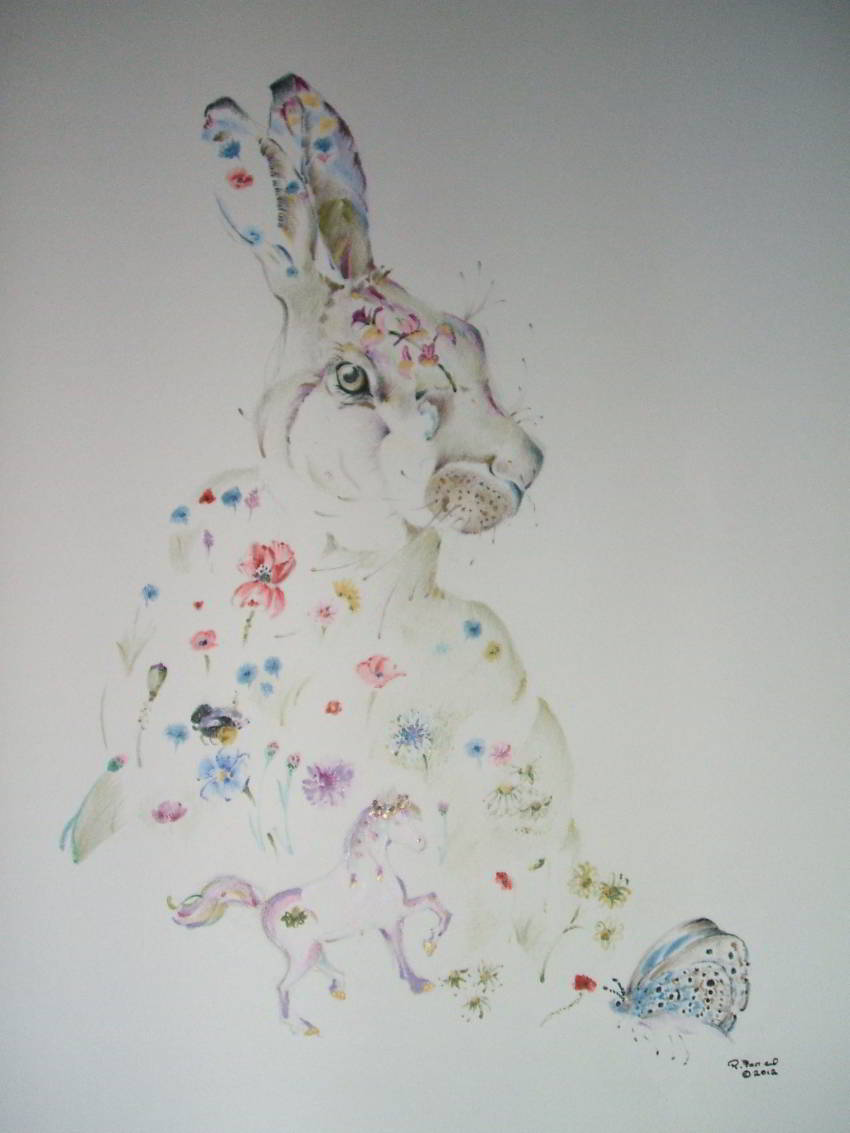 hare decorated with with wildflowers